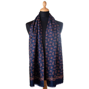 luxury navy paisley double sided silk wool scarf