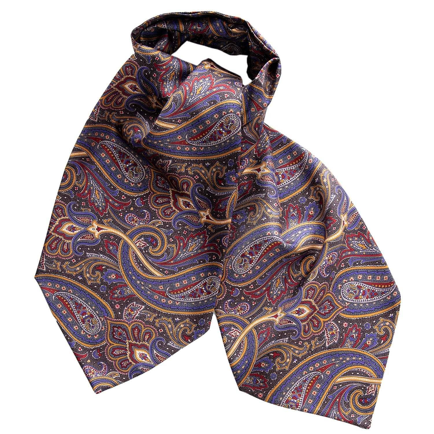 Mens Silk Ascot Cravat - Paisley - Made in Italy