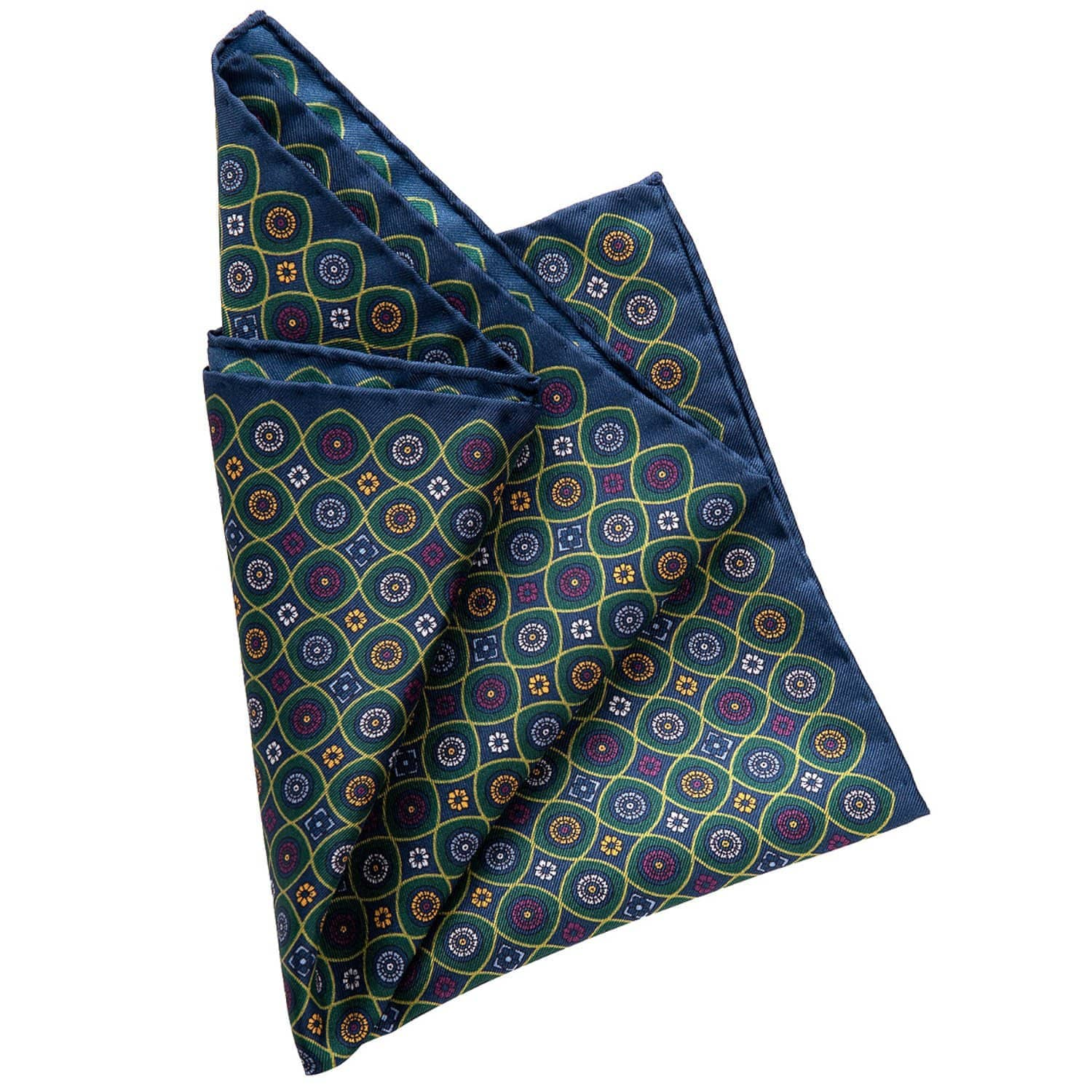 Green Silk Pocket Square - 100% Made in Como Italy