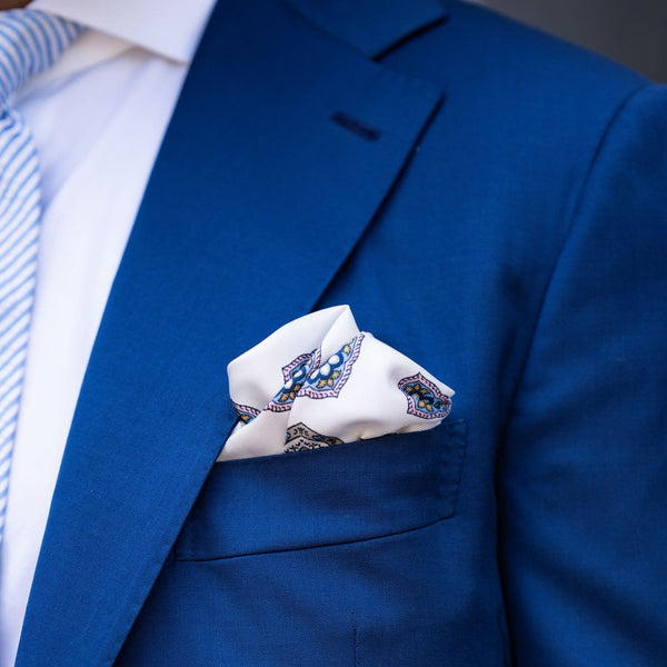 Hand Rolled Silk Pocket Square with Blue Check Border