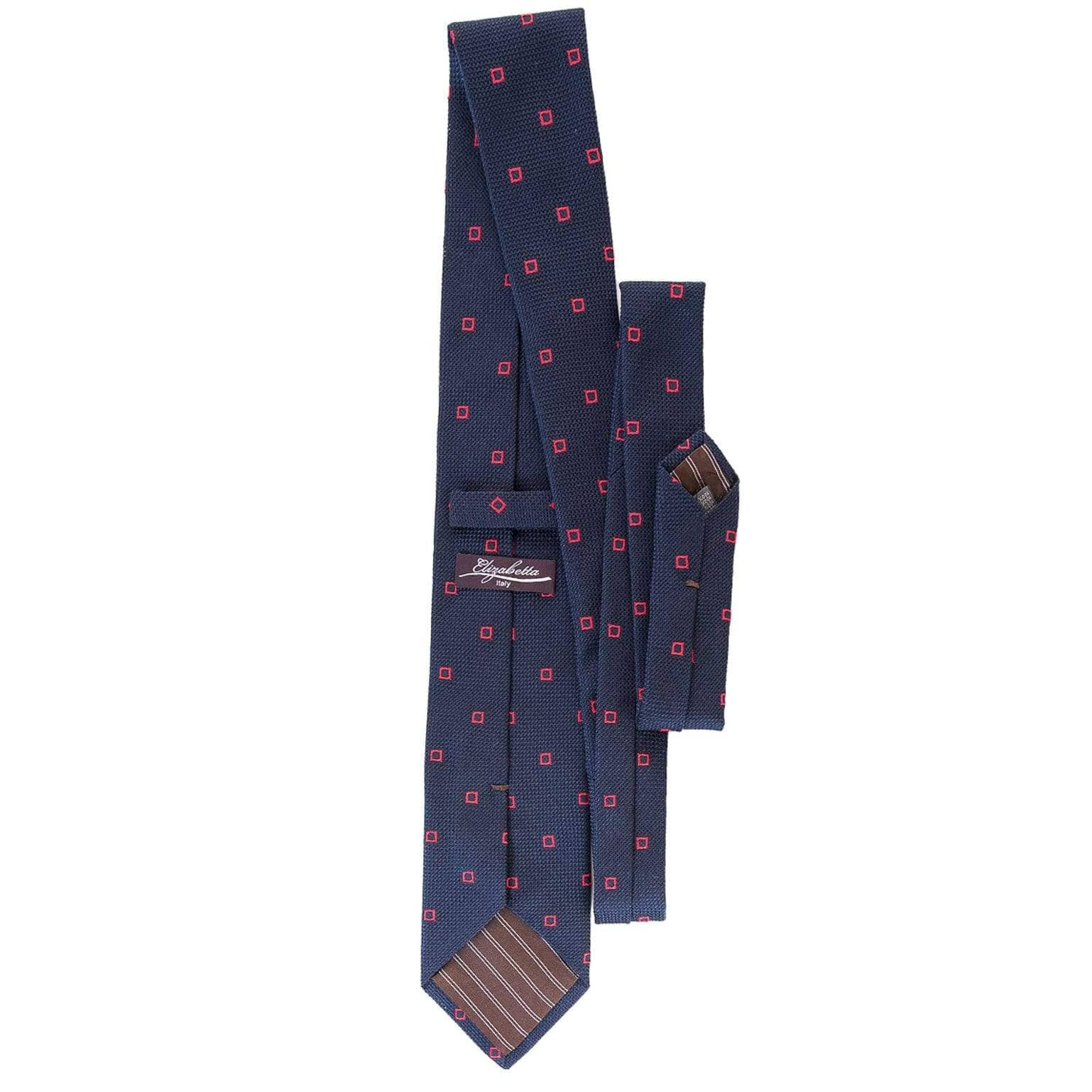 Navy Grenadine Tie with Woven Red Squares