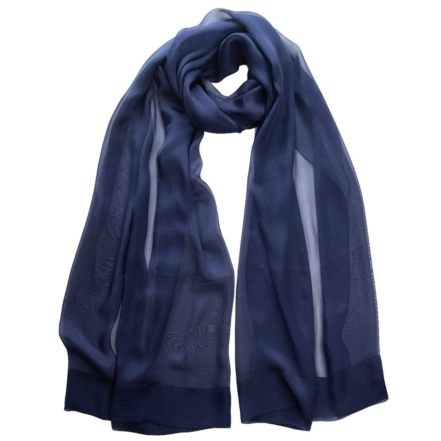 Chiffon Shawl - Navy Blue Sheer Silk Evening Wrap