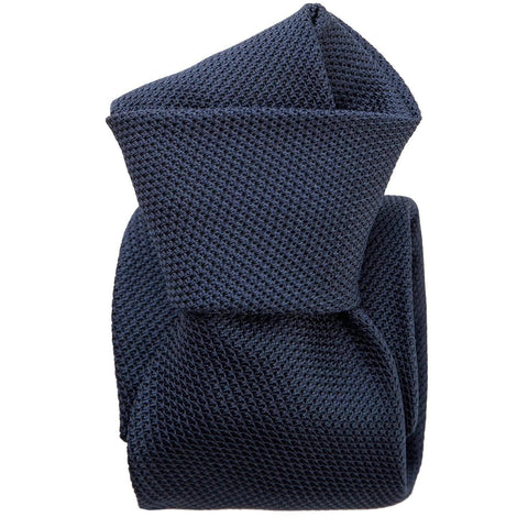 mens navy blue silk grenadine neck tie