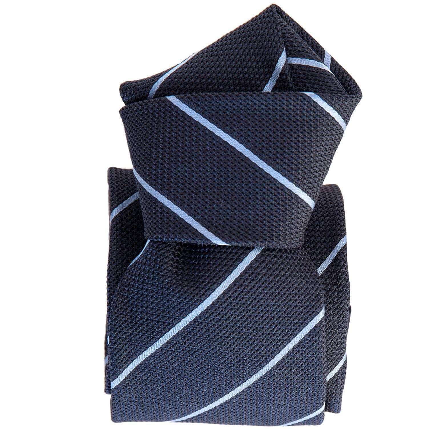 Italian Navy Silk Grenadine Tie - Pale Blue Stripes