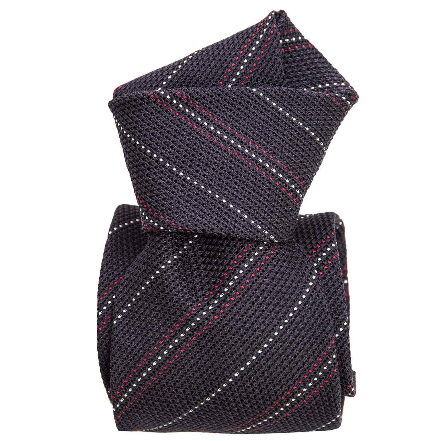 Mens Navy Silk Grenadine Tie - Blue & Red Stripes