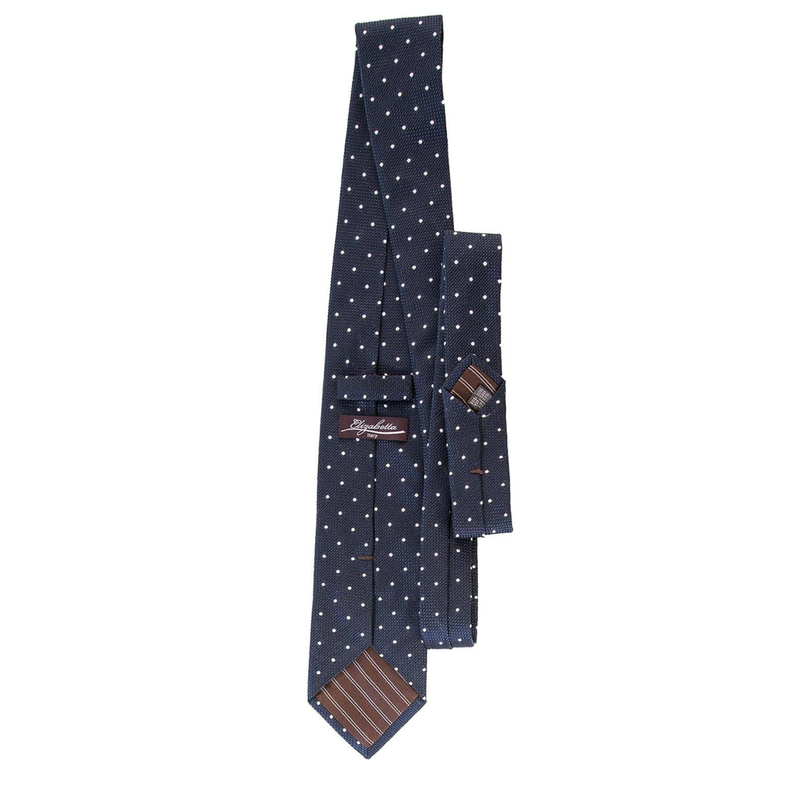 Extra Long Grenadine Tie - Navy Blue White Polka Dot