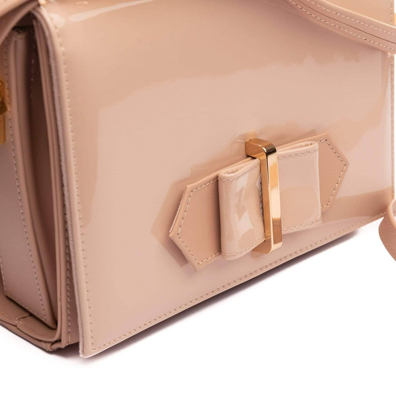 pink leather evening bag with shoulder strap