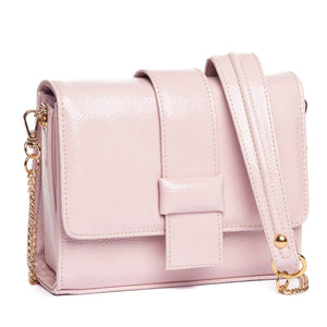 pink patent leather crossbody evening bag with chain strap