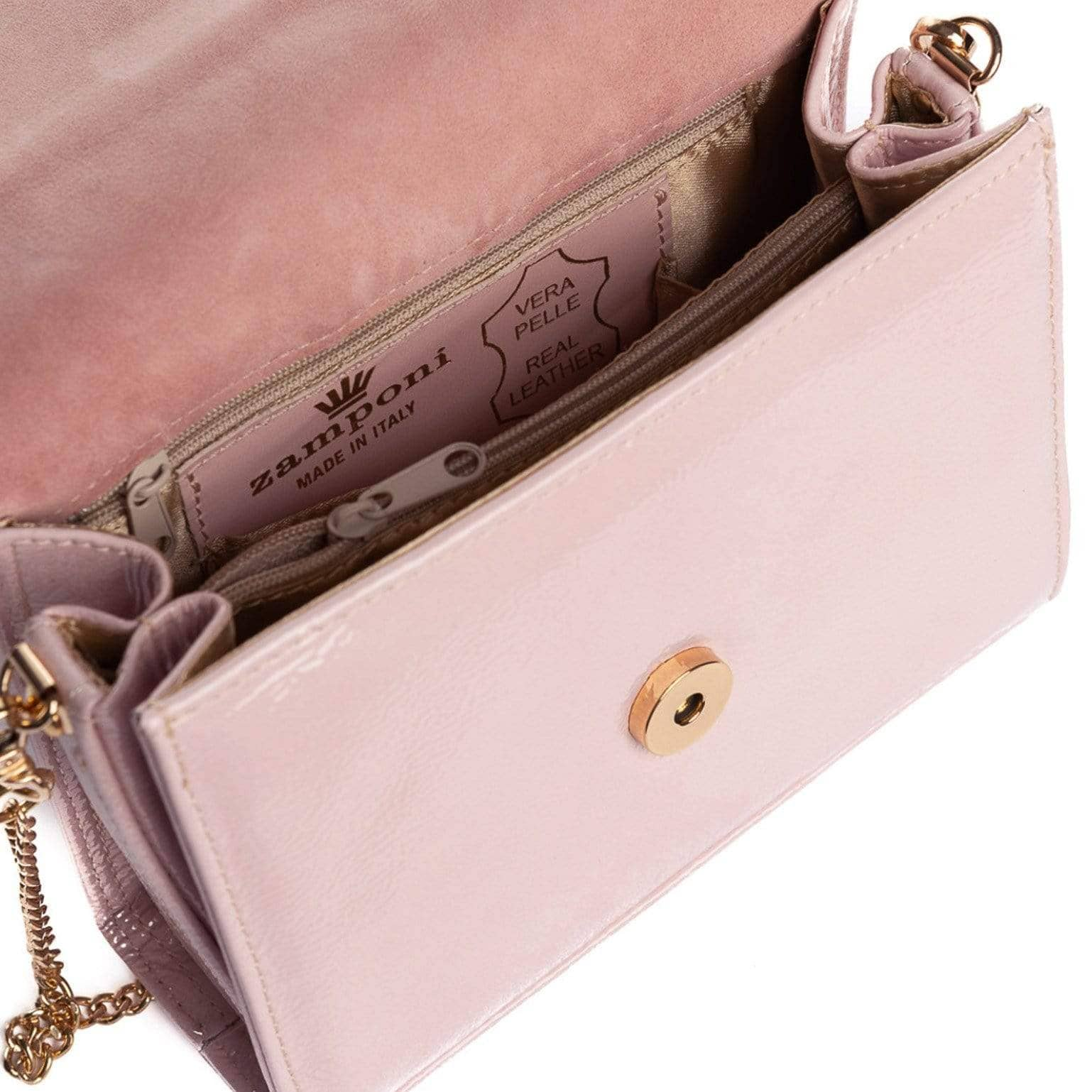 Italian pink patent leather bag
