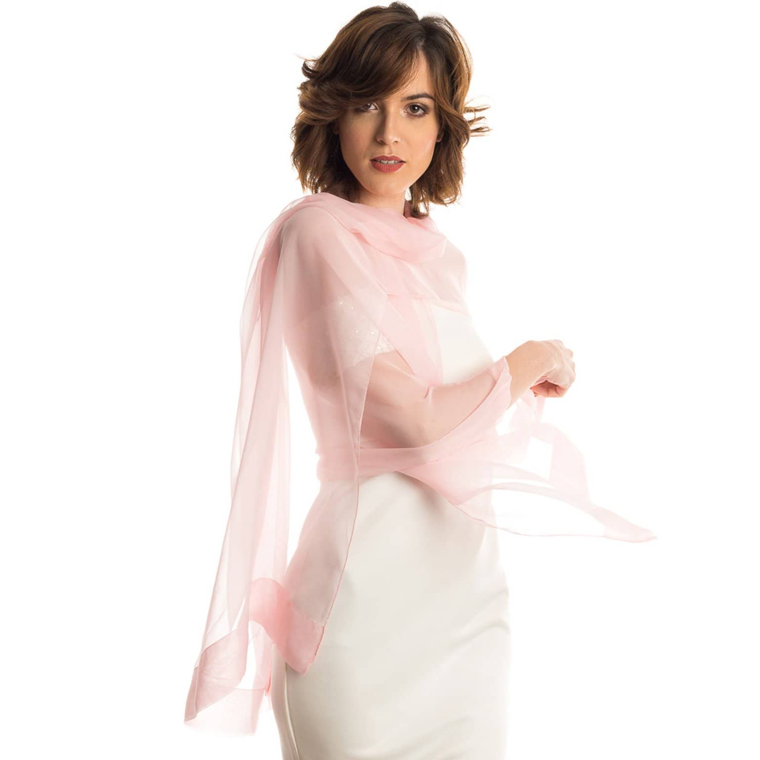 women pink solid pink sheer silk evening scarf