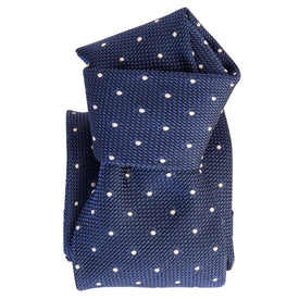 Italian Handmade Silk Grenadine Polkadot Tie-Royal Blue & White