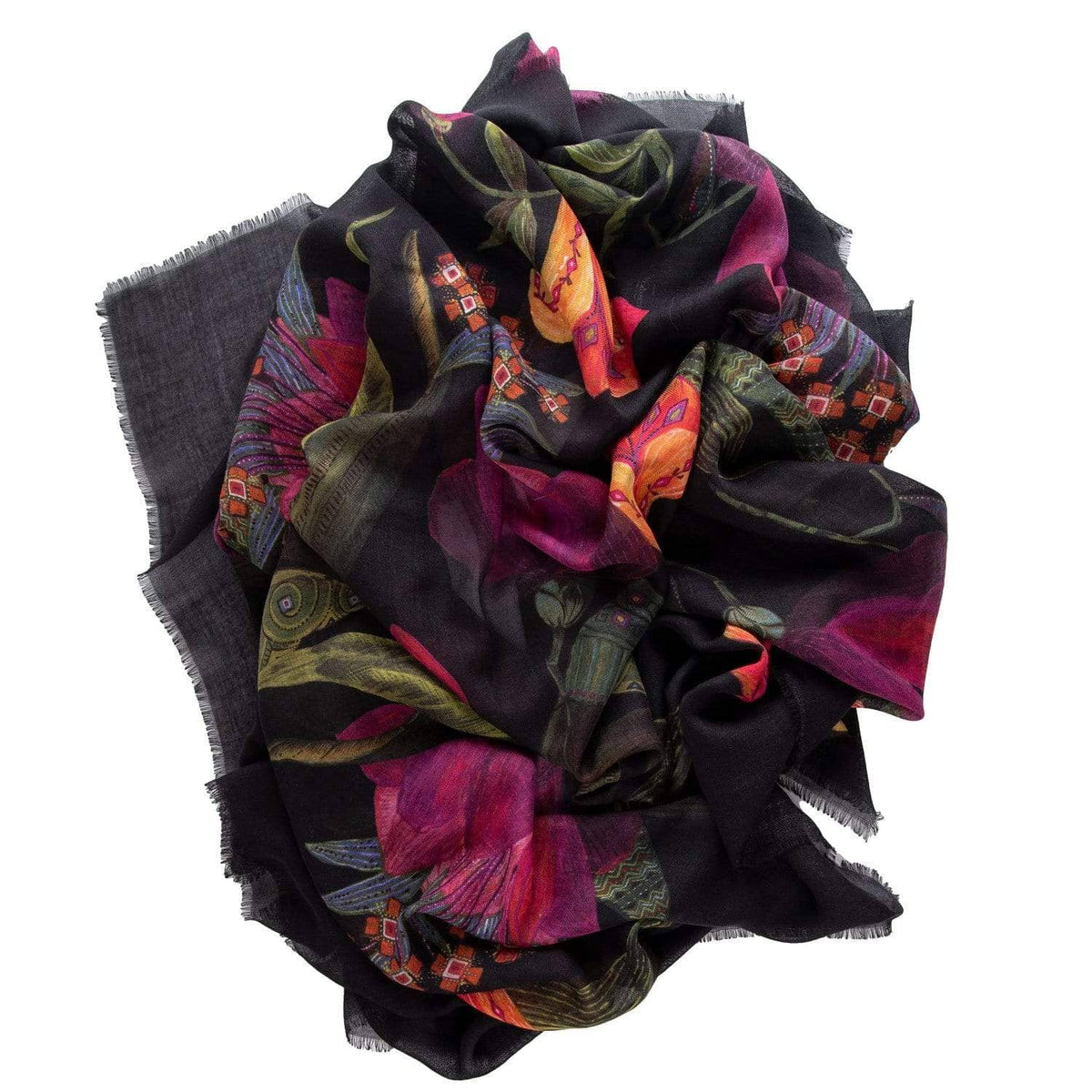 flowered silk wool scarf