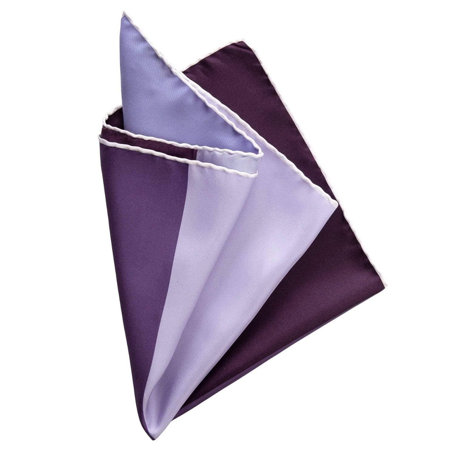 Hand Rolled Silk Pocket Square - Large - Plum Purple