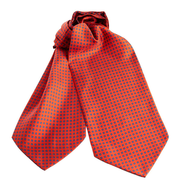 Mens Italian Silk Ascot Cravat Tie-Red Geometric Print