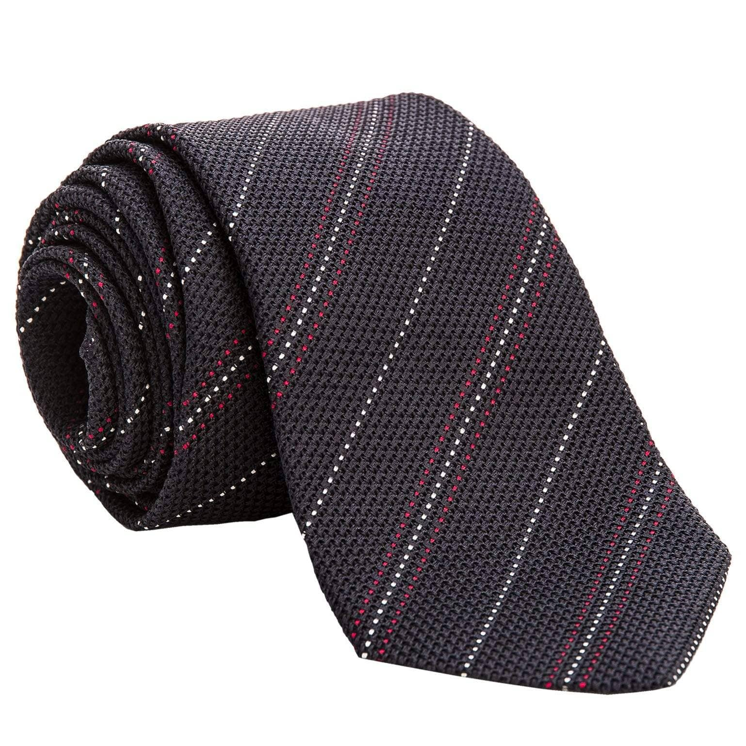 striped navy blue silk grenadine tie
