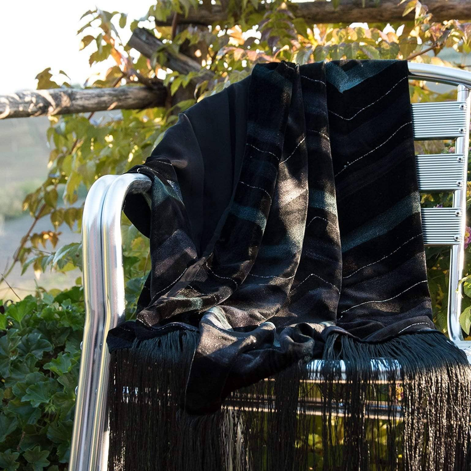 luxury black velvet formal shawl