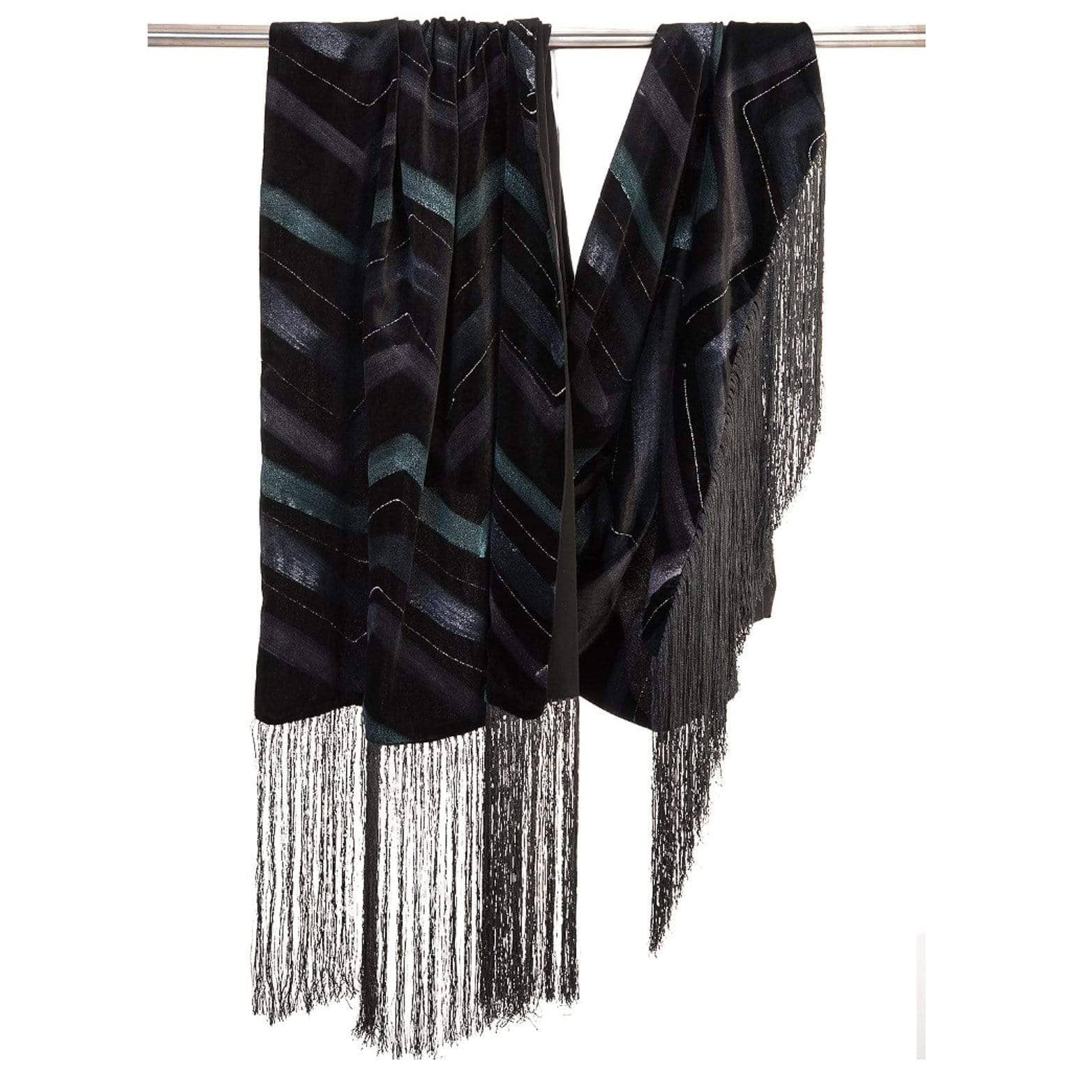Black Velvet Evening Wrap - Fringed - Silk Lining