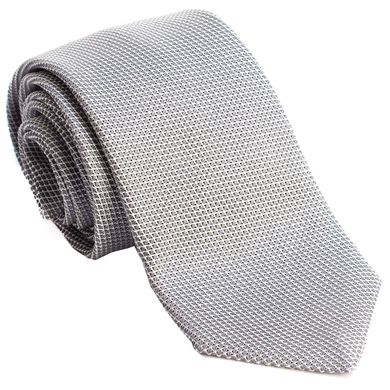 Extra Long Silk Grenadine Tie - Grey - Made in Italy
