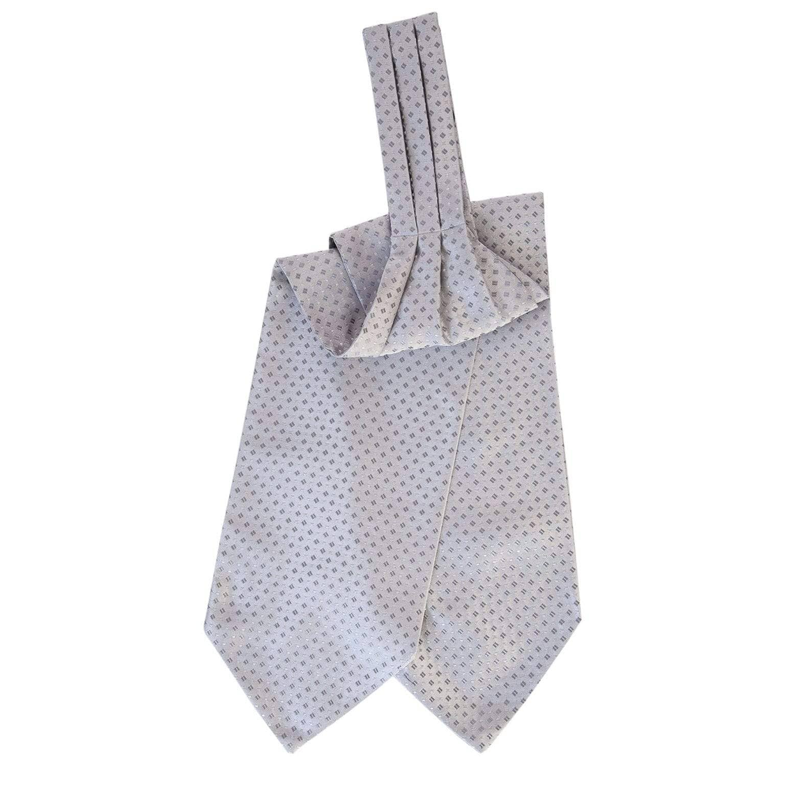 Silver Ascot Tie - Handmade in Italy - Woven Design