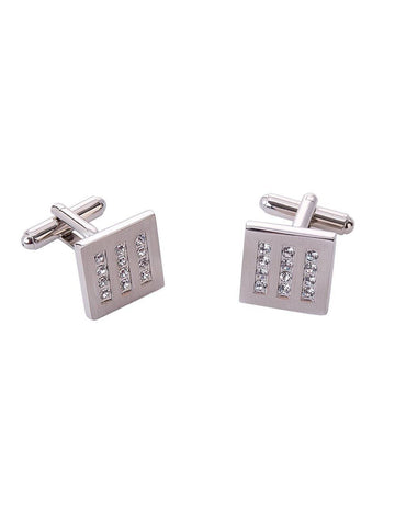 Italian Silver and Crystal Square Cufflinks