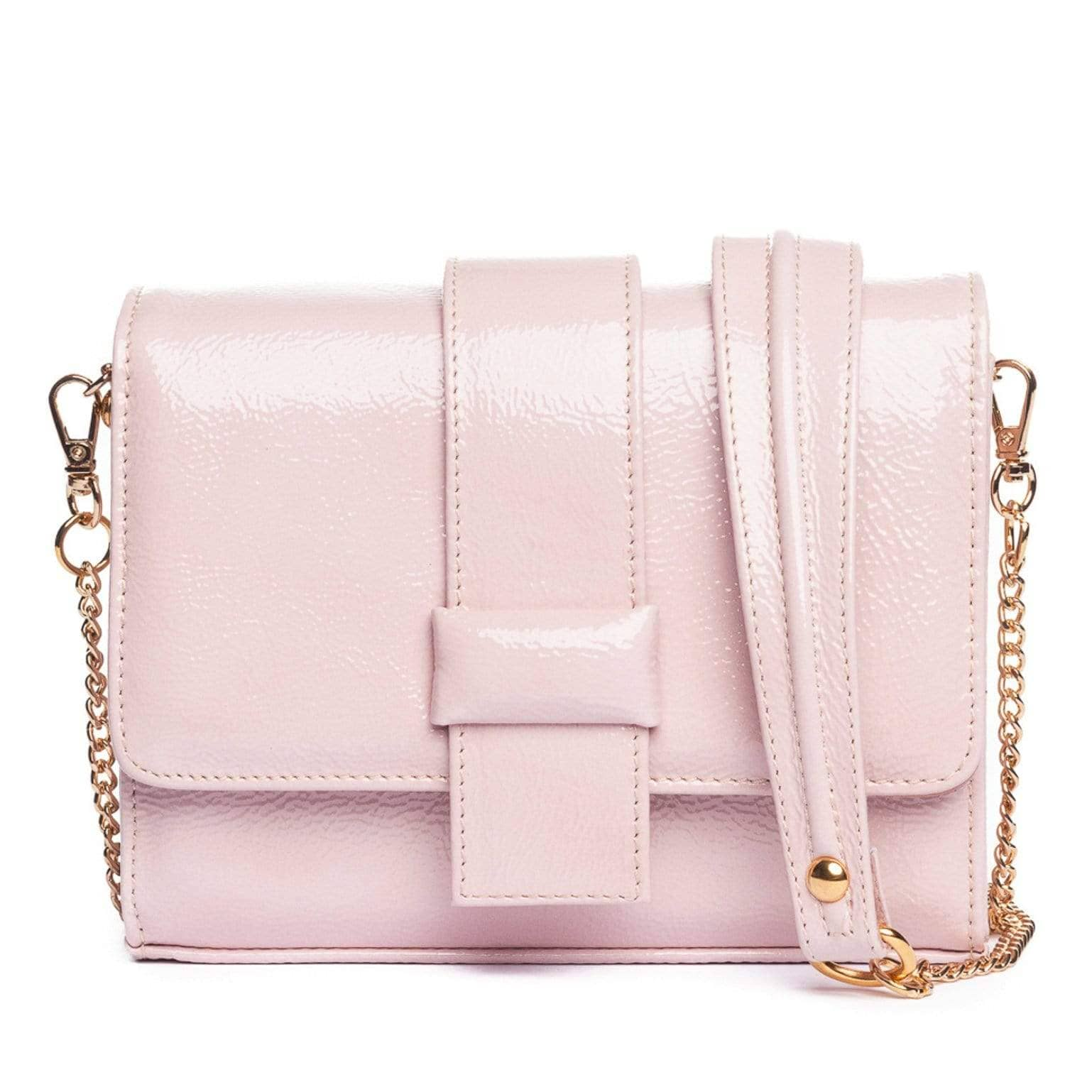Pink Patent Leather Purse - Mini Bag with Chain
