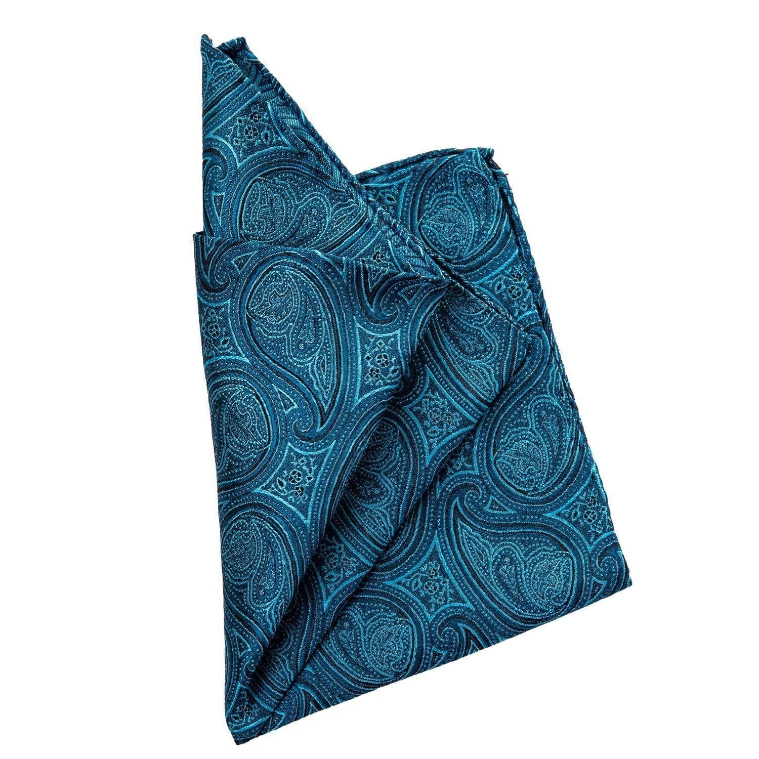Turquoise Paisley Silk Pocket Square - Made Como Italy