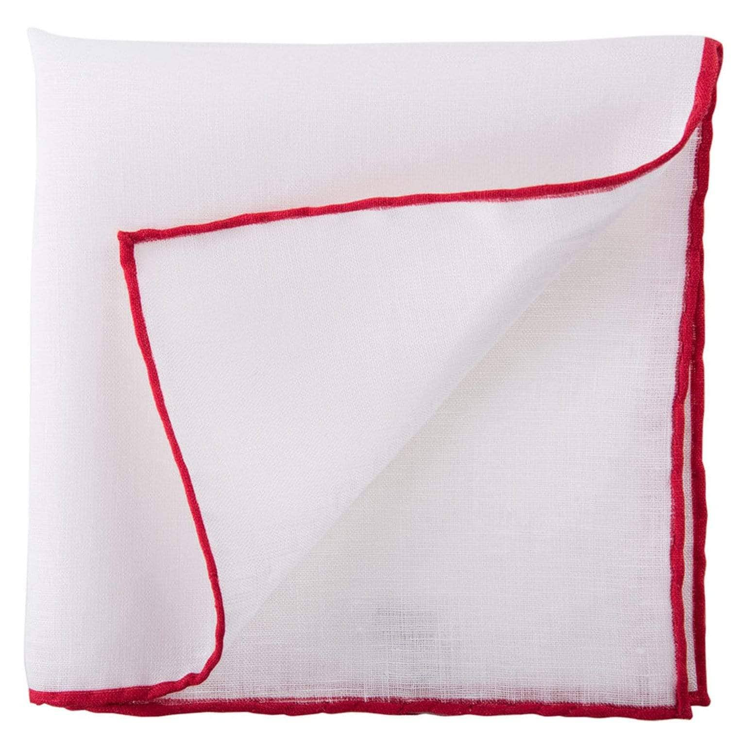 White Linen Pocket Square - Red Hand Rolled Hems