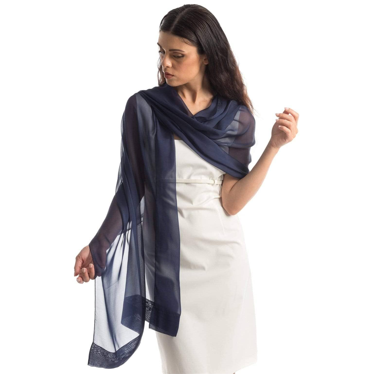 Large blue sheer silk scarf