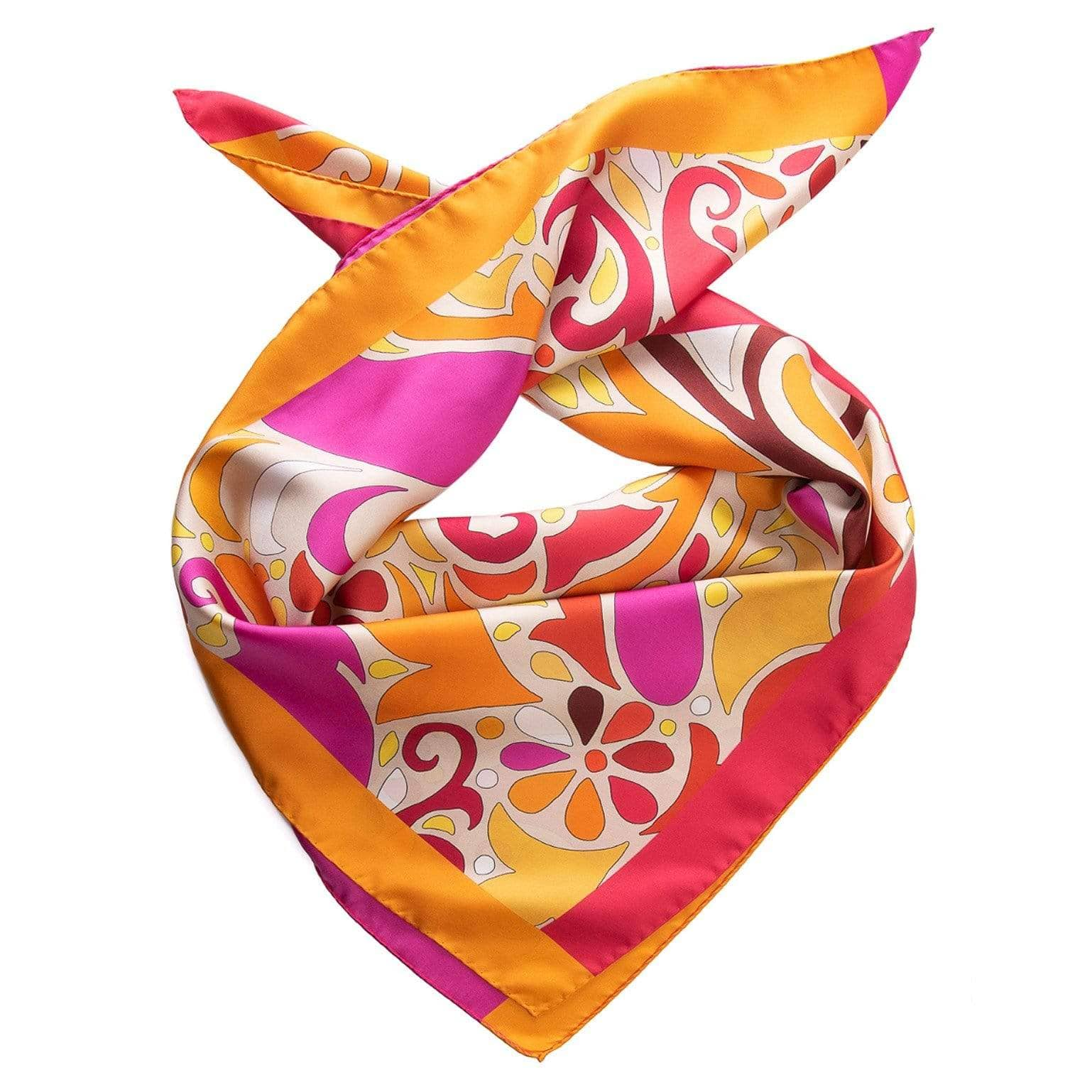 Paisley Silk Scarf - Fuchsia & Orange - Square Scarf