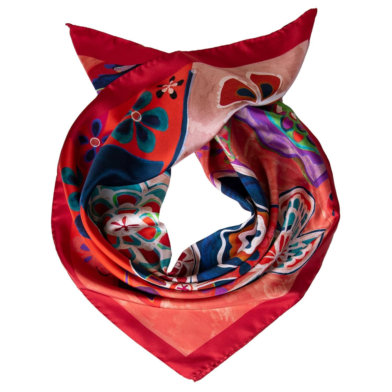 Red Silk Square Scarf - Floral - Made in Como, Italy