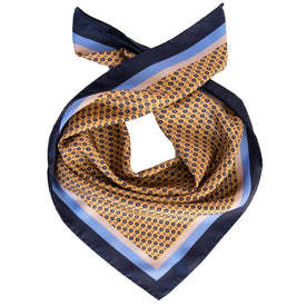 Italian Mens Yellow Silk Neckerchief - Medallion Print