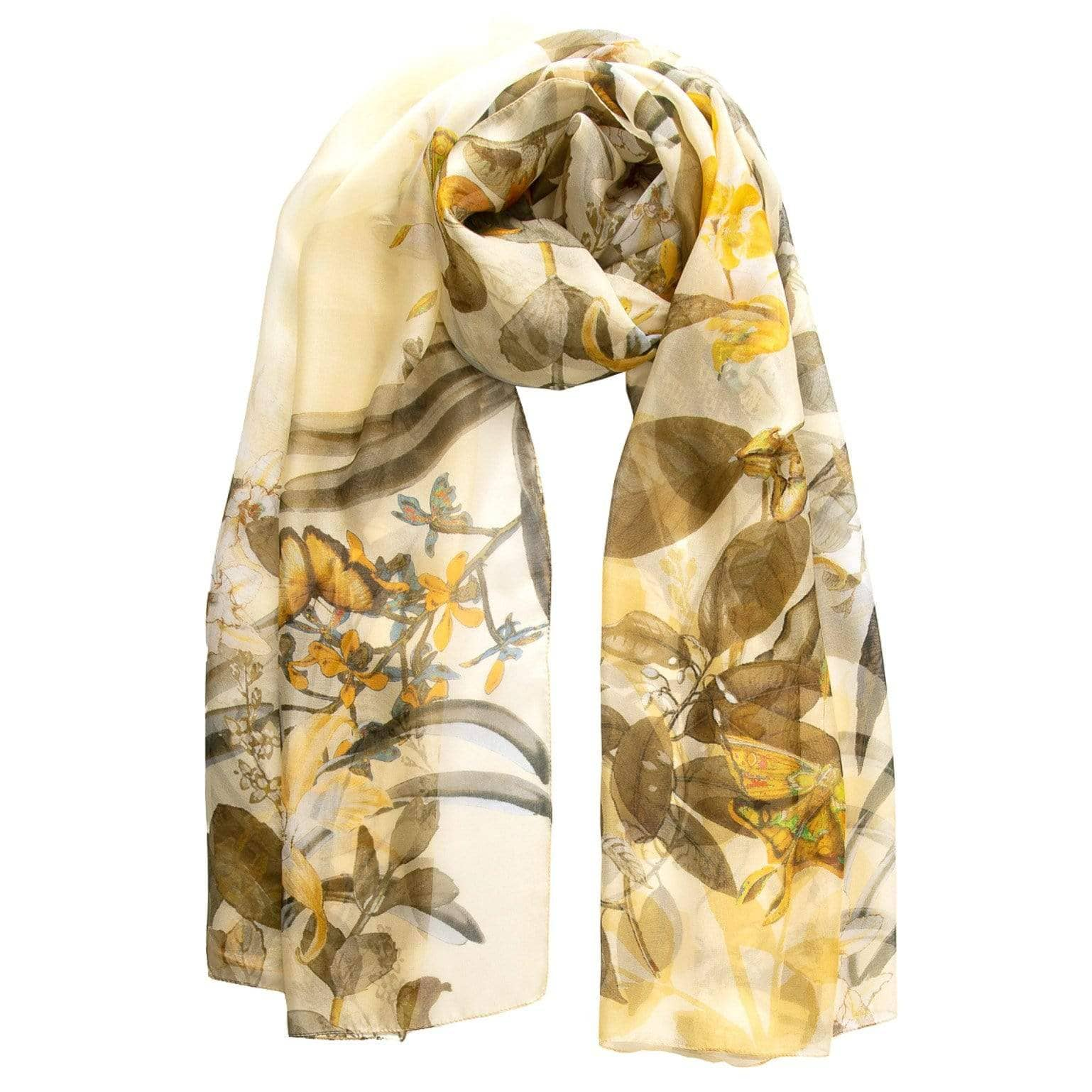 Silk Chiffon Scarf - Yellow Floral & Butterfly Print