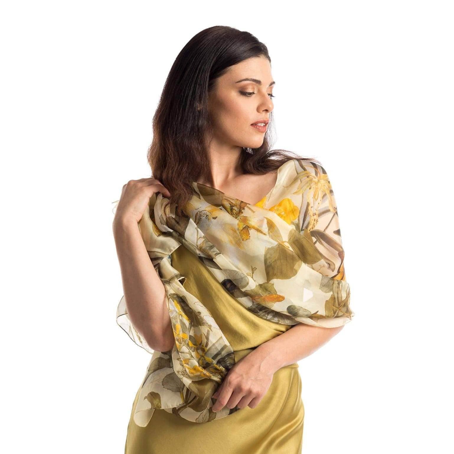 yellow silk evening scarf