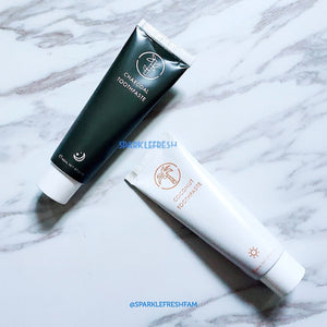 Whitening Toothpaste Duo Set - Coconut Mint Day and Activated Charcoal Night Toothpaste