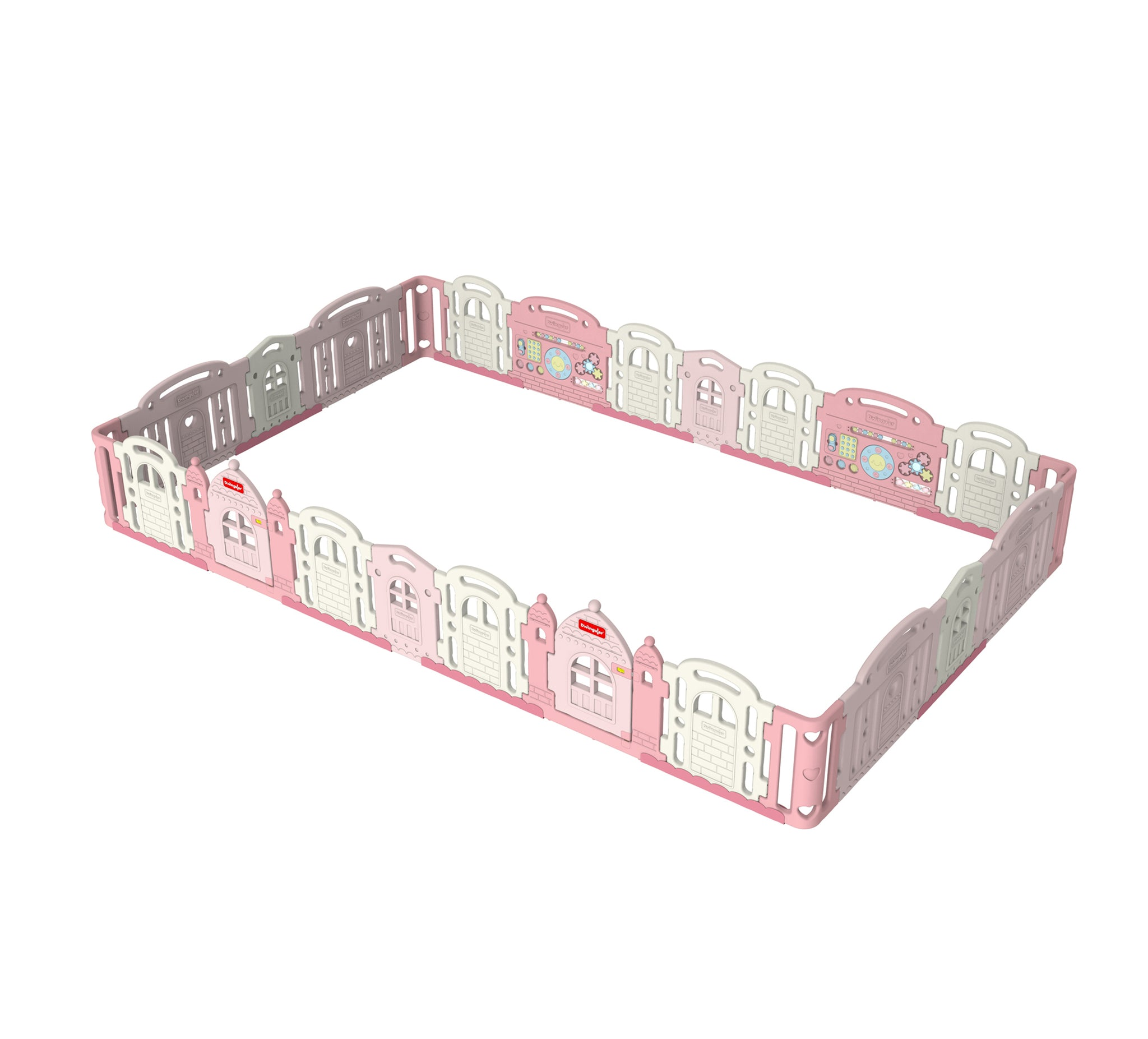 DWINGULER Castle Playpen Extension Kit XQ x4-Baby Pink