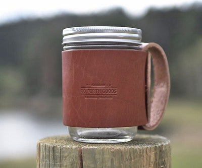 The Traveler Mug – Mason Jar Hugged in Vegetable Tanned Leather