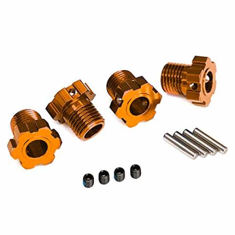Traxxas 8654A Wheel hubs splined 17mm (orange-anodized) (4) 4x5 GS (4) 3x14mm pin (4)