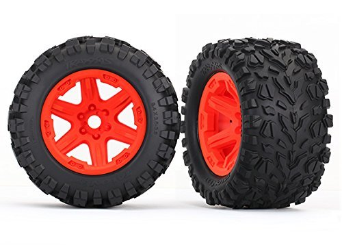 Traxxas 8672A Tires & wheels assembled glued (orange wheels Talon EXT tires foam inserts) (2) (17mm splined) (TSM rated)