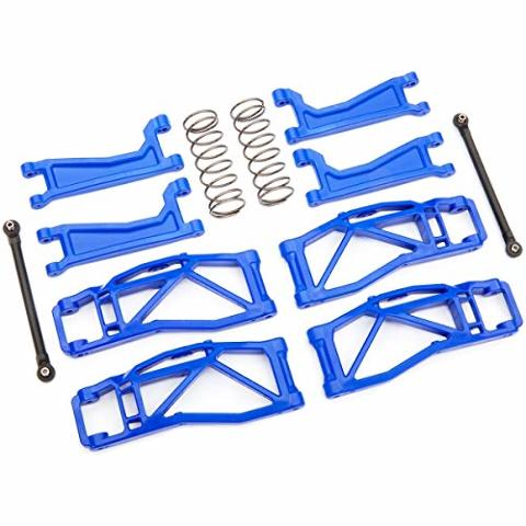 Traxxas 8995X Suspension kit WideMaxx blue (includes front & rear suspension arms front toe links rear shock springs)