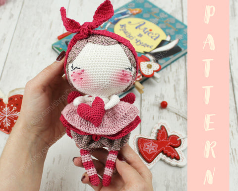 Amigurumi Crochet doll pattern: Milena in Pink clothes | 384x480