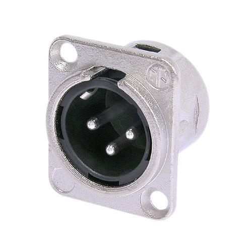 Silver / Black Neutrik NC3MD-L-1 XLR 3 Pin Panel Mount Male
