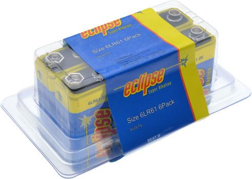 Blue / yellow Eclipse 9v Alkaline Battery 6 Pack
