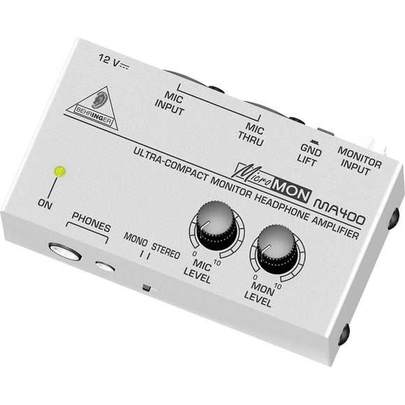 White/Silver/Grey Behringer MA400 micromon Monitor Headphone Amplifier front panel