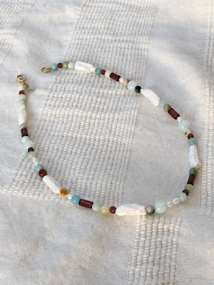 The Dewdrop Shop Amazonite, Opalite, Pearl, and Glass Necklace