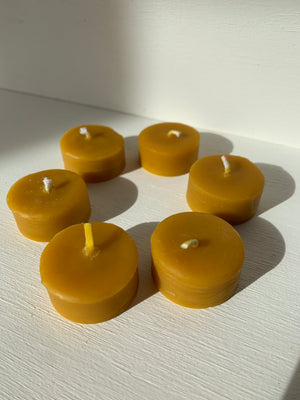 The Wax Studio Plastic Free Tealights (Natural Beeswax Yellow)