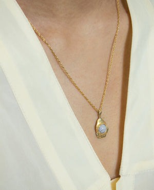 ORA-C Simonne Blue-Lace Agate Necklace (Brass)