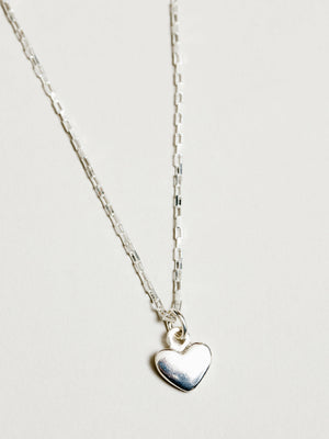 Wolf Circus Heart Charm Necklace (Silver)