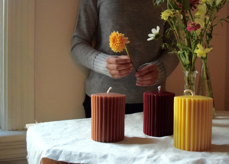 "The Wax Studio Fluted Pillar 4"" (Natural Beeswax Yellow)"