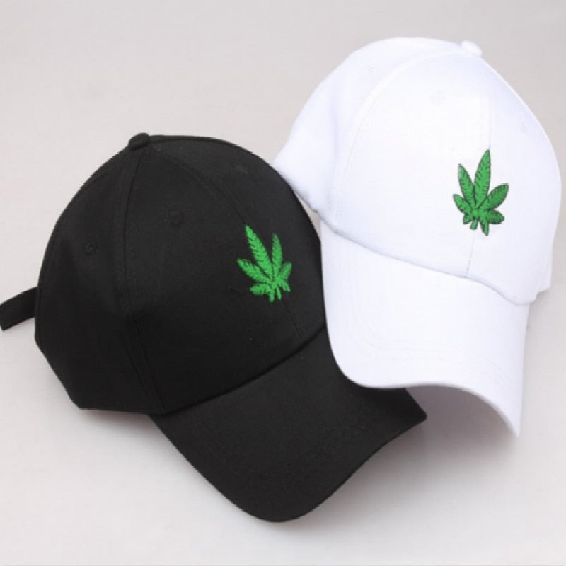 Black/White Leaf Adjustable Strapback Hat