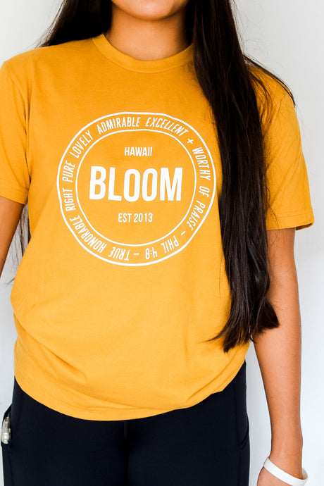 BLOOM Logo Tee in Antique Gold